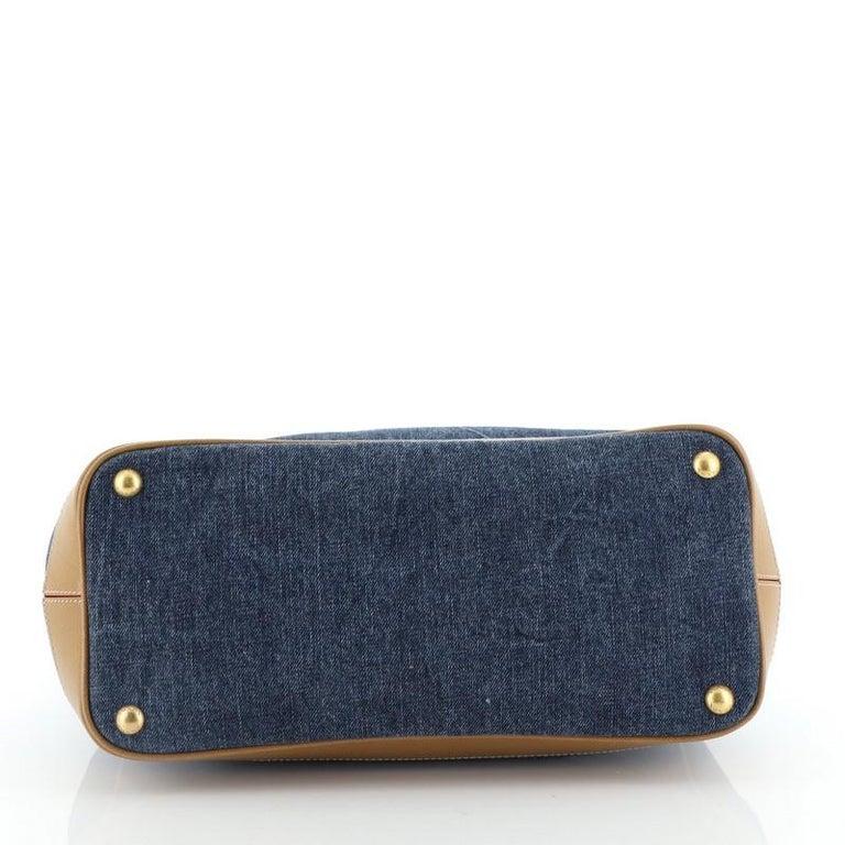 Prada Parabole Handbag Denim and Saffiano Medium In Good Condition In New York, NY