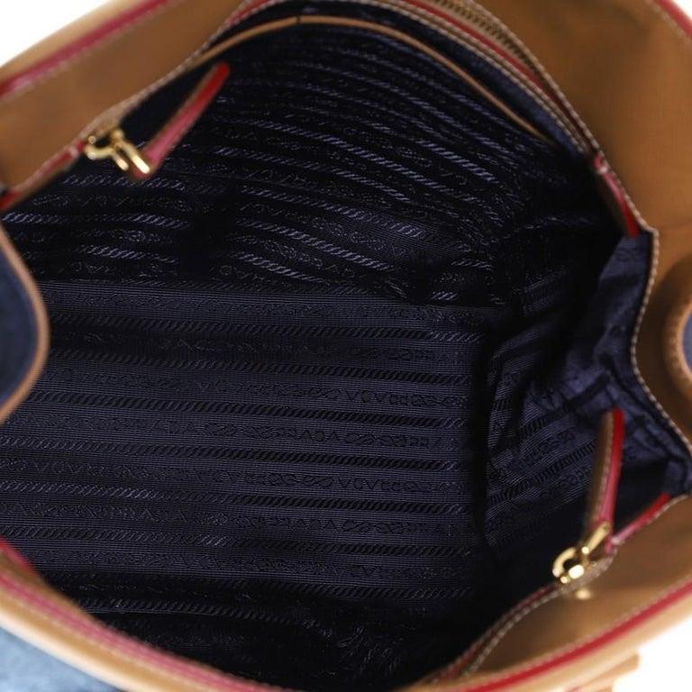 Women's or Men's Prada Parabole Handbag Denim and Saffiano Medium