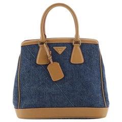 Prada Parabole Handbag Denim and Saffiano Medium