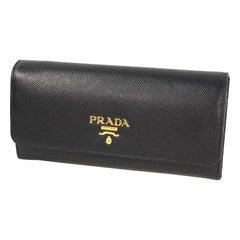 PRADA Pass holder( card case)  Womens long wallet 1MH132 black x gold hardware