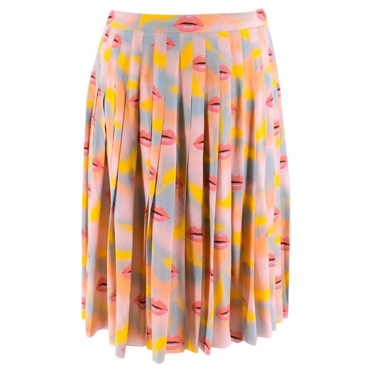 Prada Pastel Lip Print Pleated Skirt XXS 38 For Sale