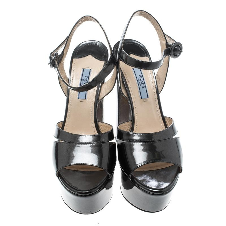 7d233f2c8c1 Prada Patent Leather Ankle Strap Block Heel Platform Sandals Size 38.5 For  Sale at 1stdibs