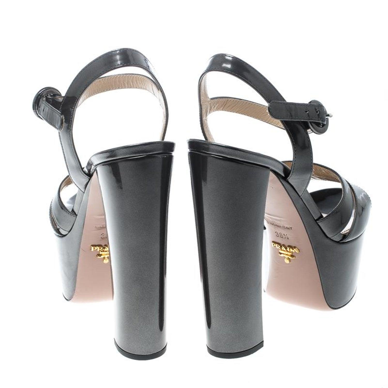 99daec3b169 Prada Patent Leather Ankle Strap Block Heel Platform Sandals Size 38.5 For  Sale at 1stdibs