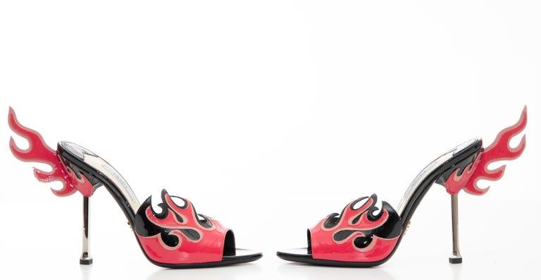 Prada Patent Leather Flame Slide Sandals, Spring 2012 For Sale 5