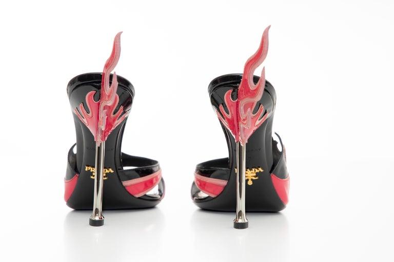 Prada Patent Leather Flame Slide Sandals, Spring 2012 For Sale 6