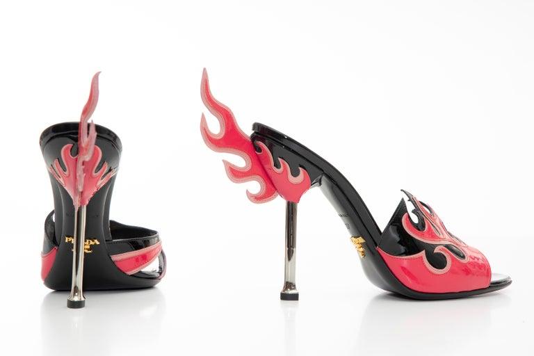 Prada Patent Leather Flame Slide Sandals, Spring 2012 For Sale 7