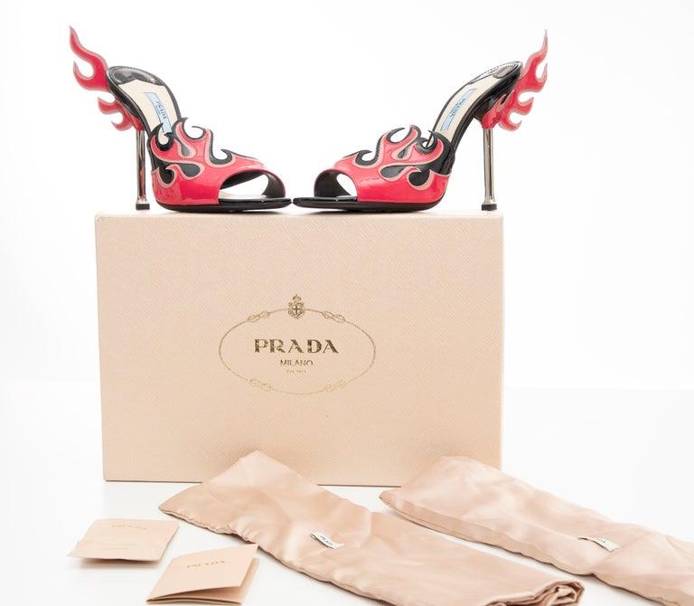 Prada Patent Leather Flame Slide Sandals, Spring 2012 For Sale 10