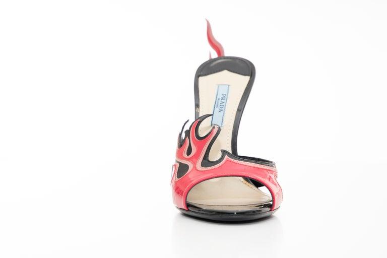 Prada Patent Leather Flame Slide Sandals, Spring 2012 For Sale 2