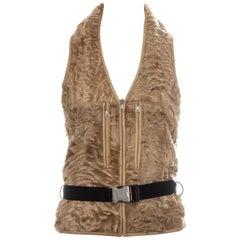 Prada Persian Lamb belted waistcoat, fw 1999