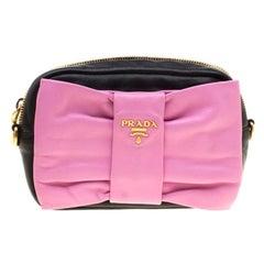 Prada Pink And Black Leather Bow Crossbody Bag
