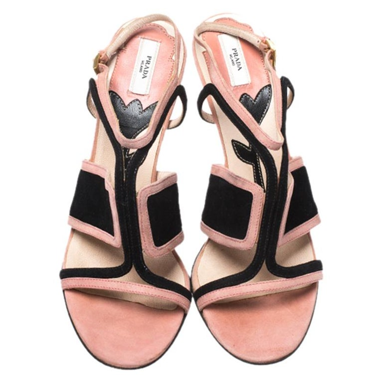 Brown Prada Pink/Black Cut Out Suede Open Toe Ankle Strap Sandals Size 36.5 For Sale
