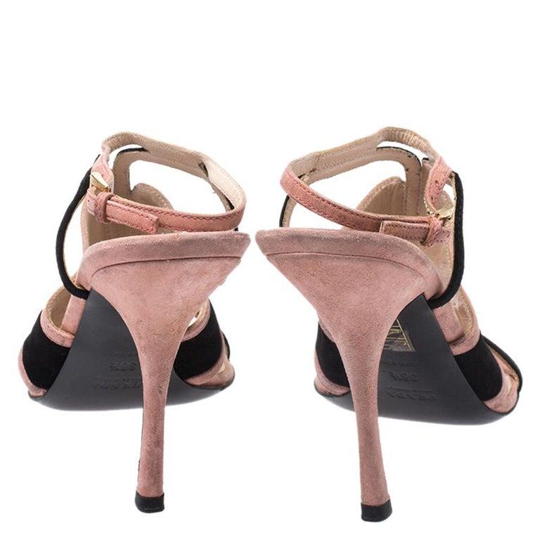 Prada Pink/Black Cut Out Suede Open Toe Ankle Strap Sandals Size 36.5 In Good Condition For Sale In Dubai, Al Qouz 2