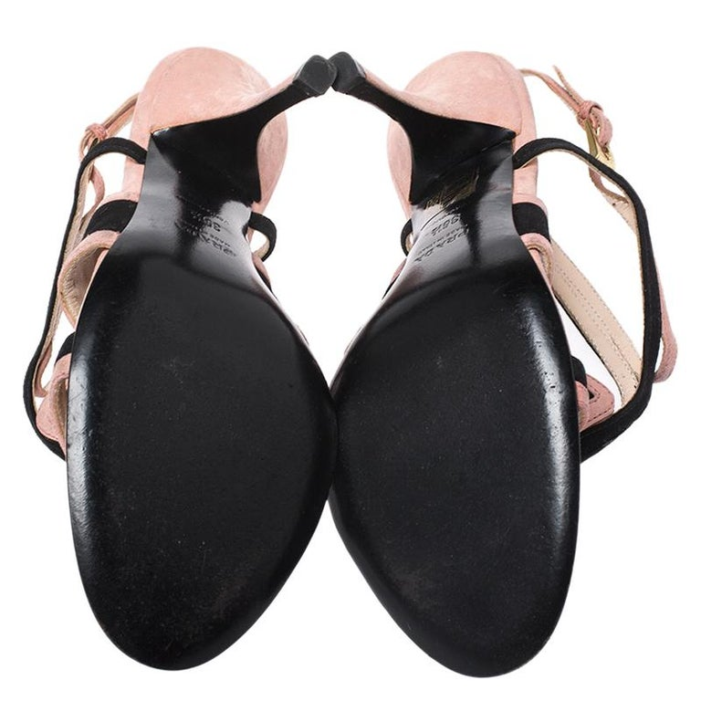 Women's Prada Pink/Black Cut Out Suede Open Toe Ankle Strap Sandals Size 36.5 For Sale