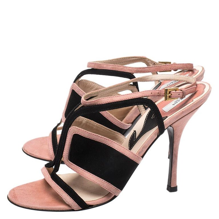 Prada Pink/Black Cut Out Suede Open Toe Ankle Strap Sandals Size 36.5 For Sale 2