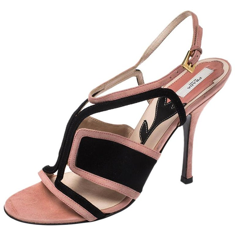Prada Pink/Black Cut Out Suede Open Toe Ankle Strap Sandals Size 36.5 For Sale