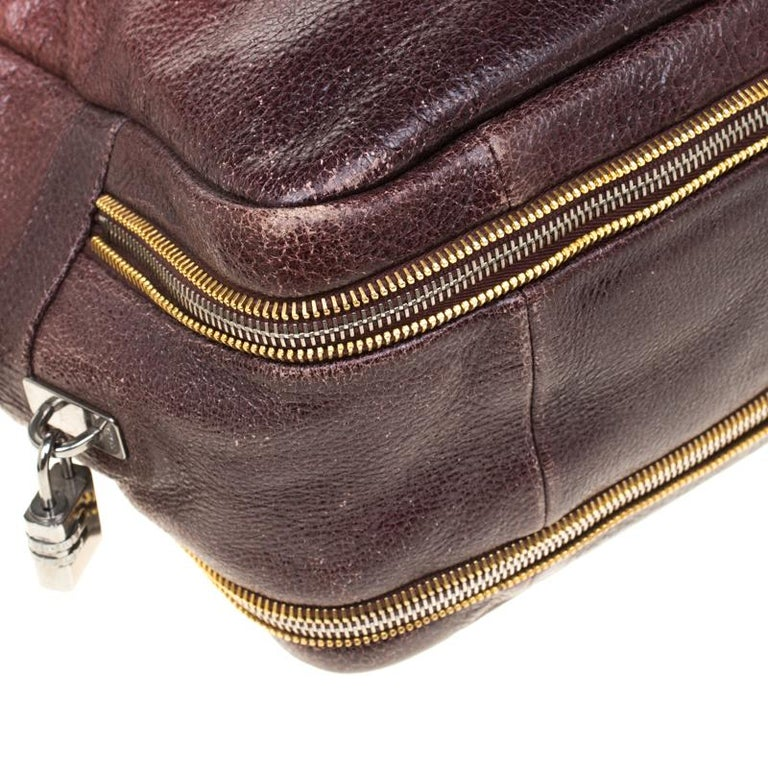 Prada Pink/Eggplant Ombre Cervo Leather Bauletto Bag For Sale 6