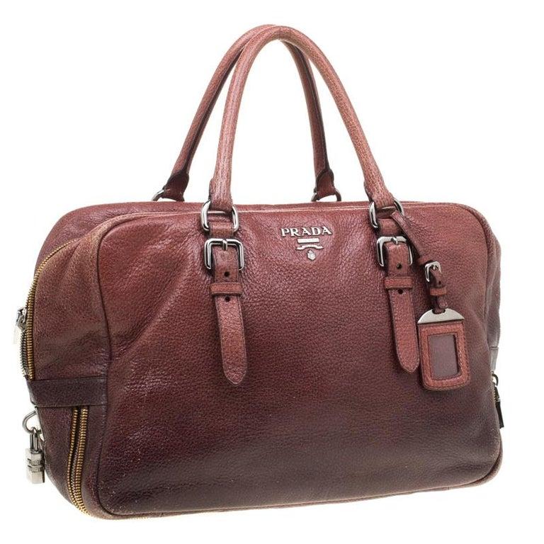 Women's Prada Pink/Eggplant Ombre Cervo Leather Bauletto Bag For Sale