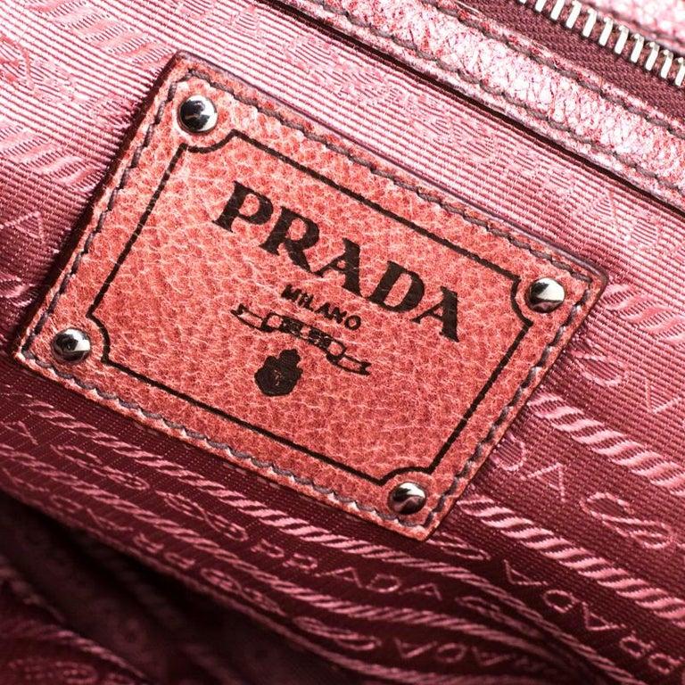 Prada Pink/Eggplant Ombre Cervo Leather Bauletto Bag For Sale 2
