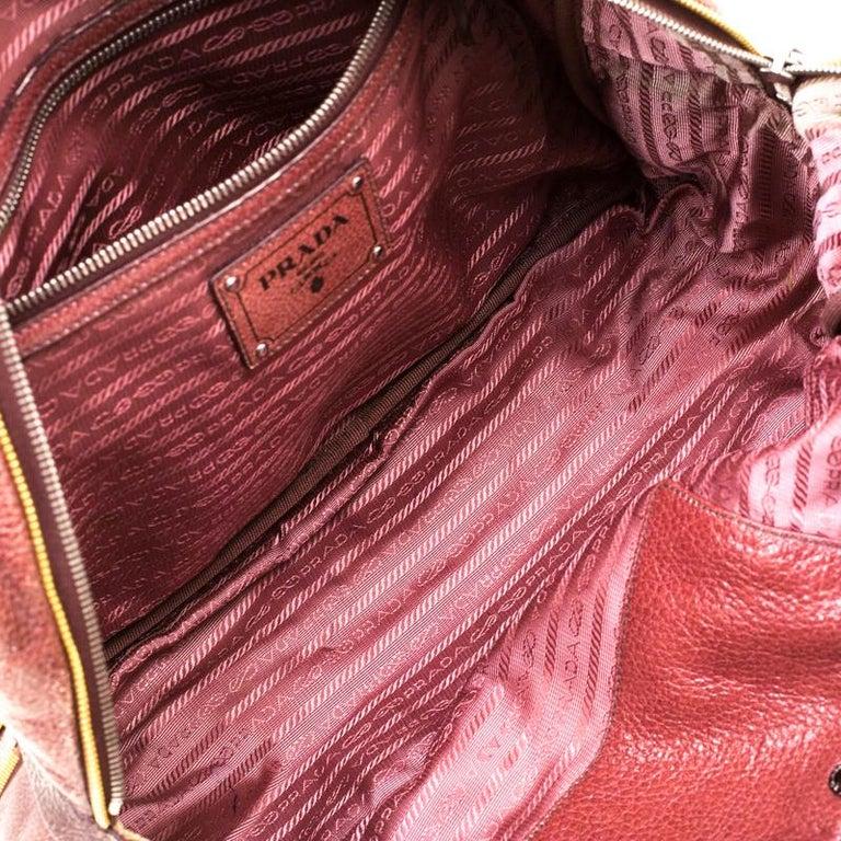 Prada Pink/Eggplant Ombre Cervo Leather Bauletto Bag For Sale 3
