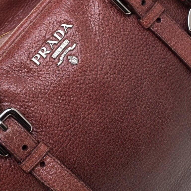 Prada Pink/Eggplant Ombre Cervo Leather Bauletto Bag For Sale 4