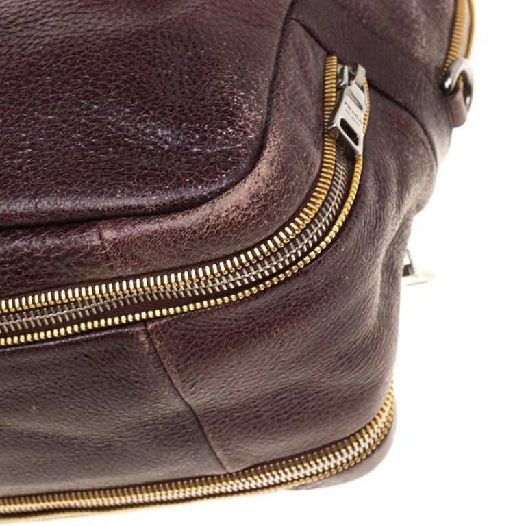 Prada Pink/Eggplant Ombre Cervo Leather Bauletto Bag For Sale 5