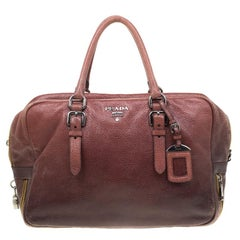 Prada Pink/Eggplant Ombre Cervo Leather Bauletto Bag