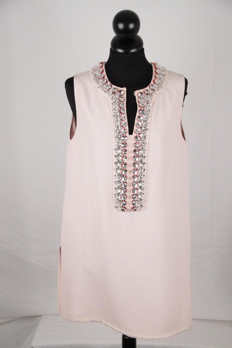 Prada Pink Embellished Sleeveless Tunic and Pants Set IT Size 40 For Sale 7