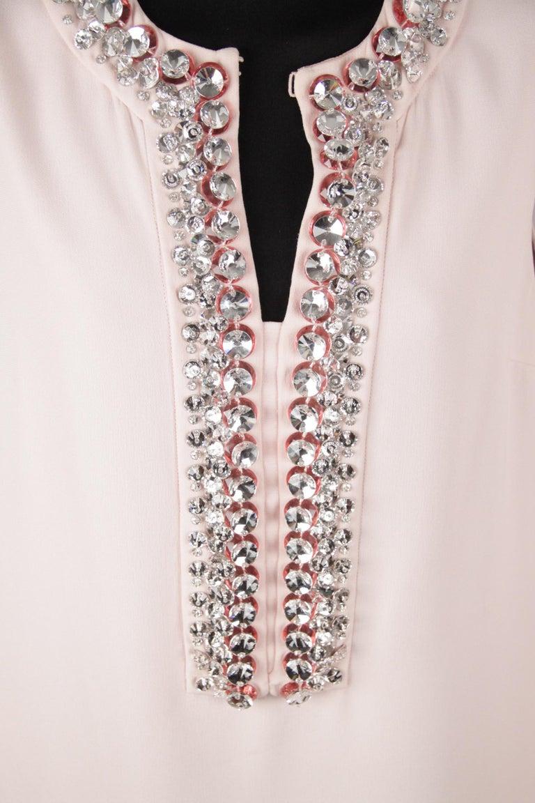 Beige Prada Pink Embellished Sleeveless Tunic and Pants Set IT Size 40 For Sale