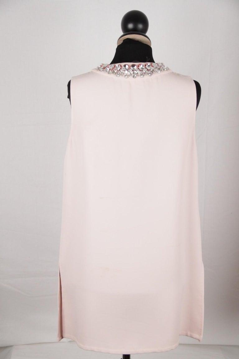 Women's Prada Pink Embellished Sleeveless Tunic and Pants Set IT Size 40 For Sale