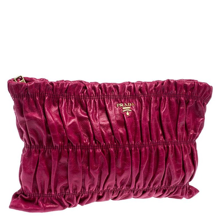 Women's Prada Pink Gathered Leather Clutch For Sale