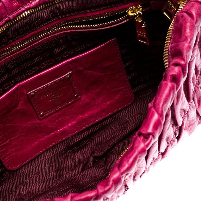 Prada Pink Gathered Leather Clutch For Sale 4