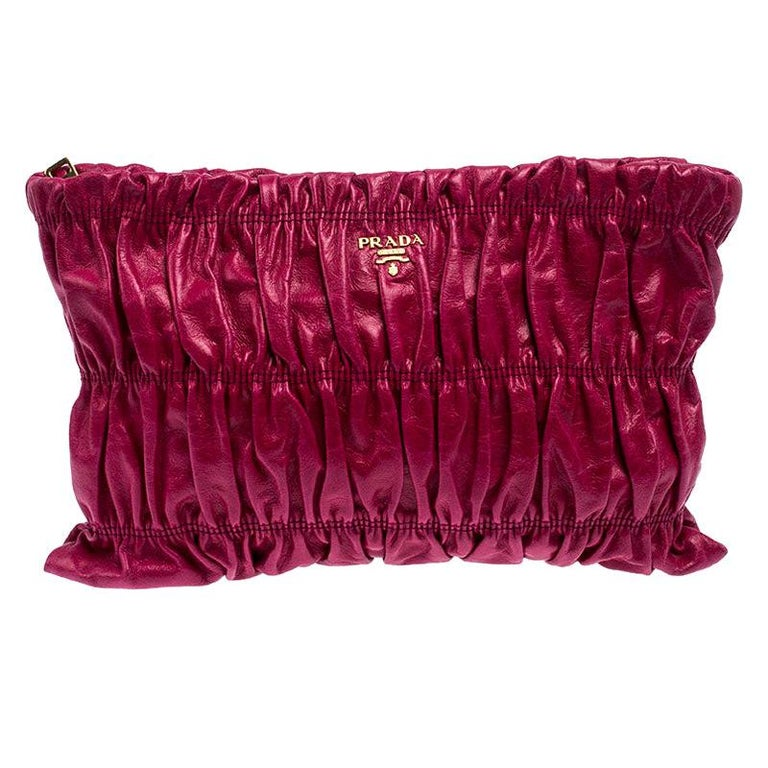 Prada Pink Gathered Leather Clutch For Sale