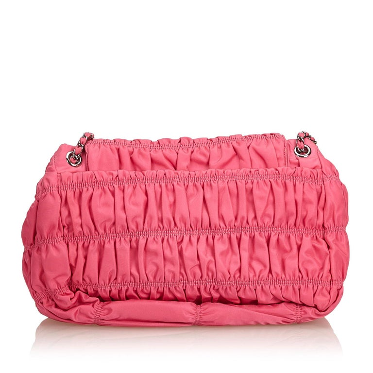 Prada Pink Gathered Nylon Chain Shoulder Bag In Good Condition For Sale In Orlando, FL
