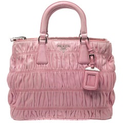 Prada Pink Gaufre Leather Double Zip Tote