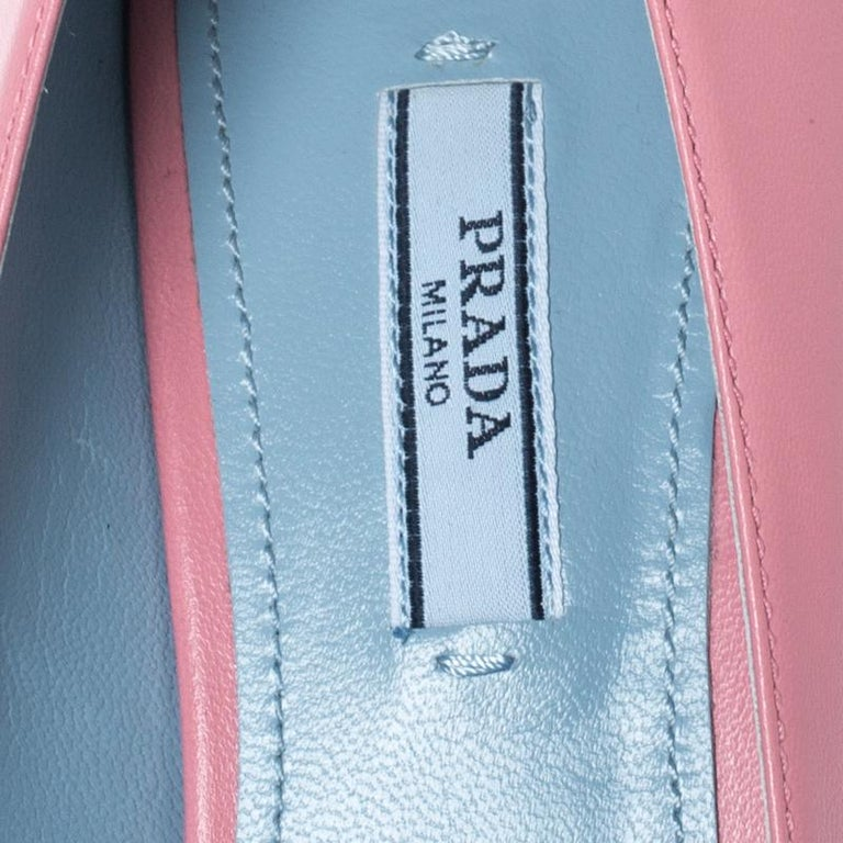 Women's Prada Pink Leather Bow Detail Pointed Toe Pumps Size 39.5 For Sale