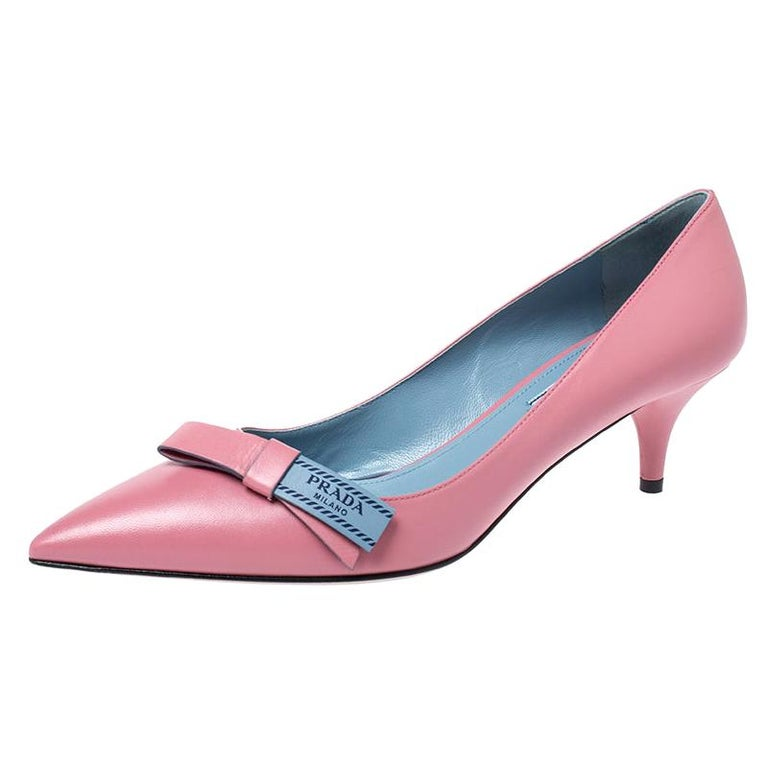 Prada Pink Leather Bow Detail Pointed Toe Pumps Size 39.5 For Sale