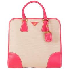 PRADA pink leather & canvas NORTT TO SOUTH Tote Bag