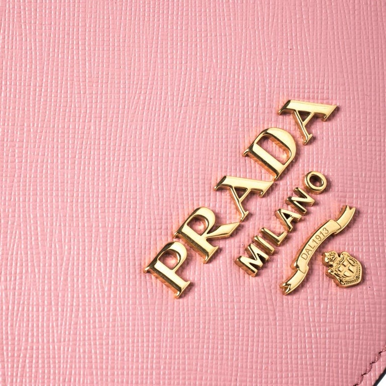 Prada Pink Leather Pattina Shoulder Bag For Sale 2