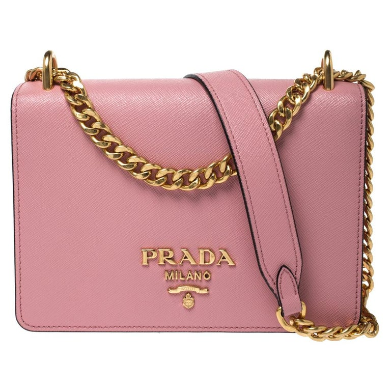 Prada Pink Leather Pattina Shoulder Bag For Sale