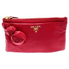 Prada Pink Leather Rose Applique Clutch