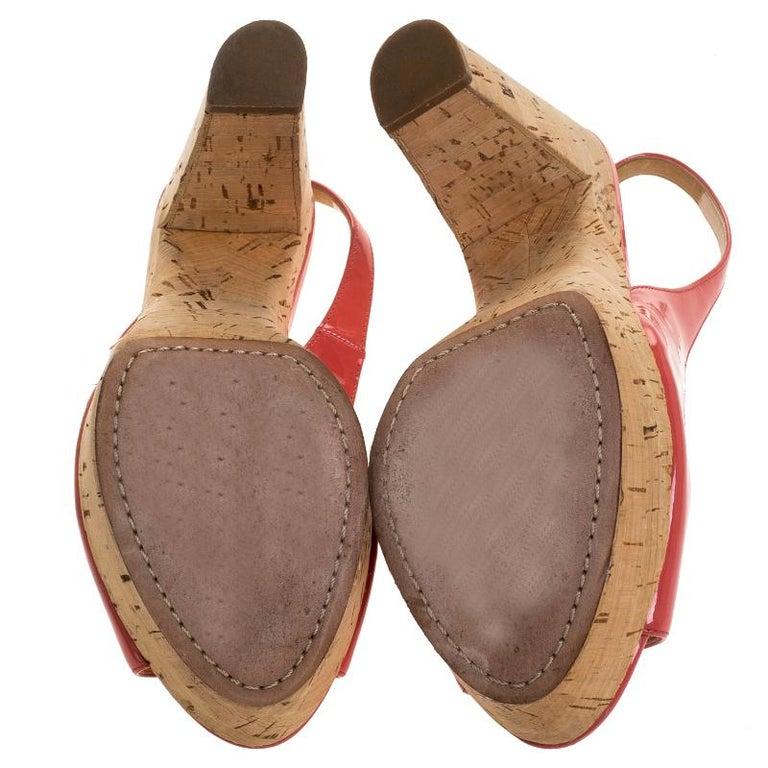 Women's Prada Pink Patent Leather Cork Platform Slingback Sandals Size 36 For Sale