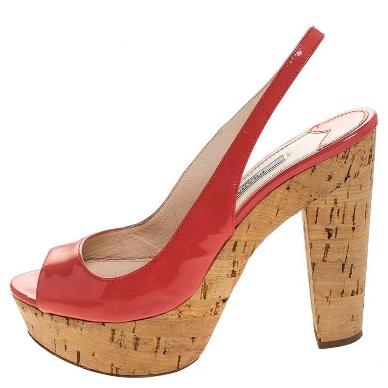 Prada Pink Patent Leather Cork Platform Slingback Sandals Size 36 For Sale 1
