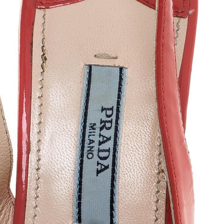 Prada Pink Patent Leather Cork Platform Slingback Sandals Size 36 For Sale 2