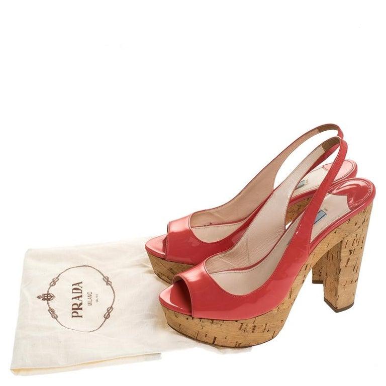 Prada Pink Patent Leather Cork Platform Slingback Sandals Size 36 For Sale 3