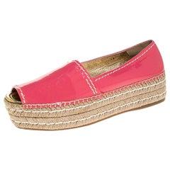 Prada Pink Patent Leather Peep Toe Platform Espadrilles Size 40
