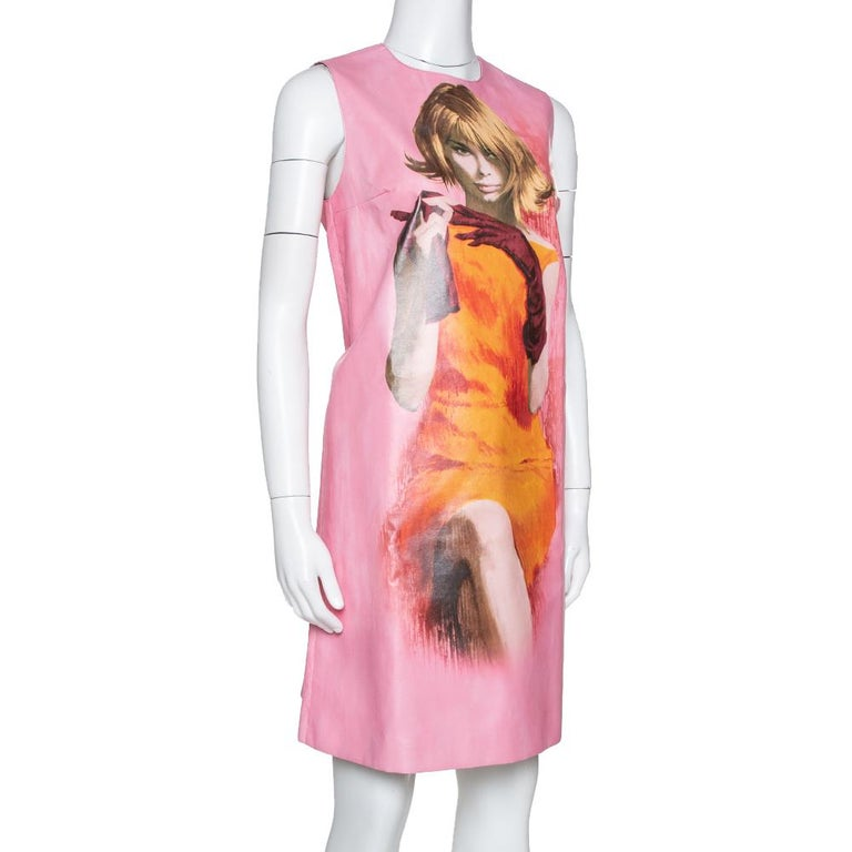 Prada Pink Poster Girl Print Coated Cotton Sleeveless Dress S In Excellent Condition For Sale In Dubai, Al Qouz 2