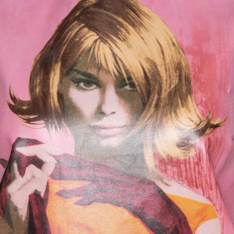 Prada Pink Poster Girl Print Coated Cotton Sleeveless Dress S For Sale 4