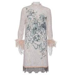 Prada Pink Printed Crepe Metal Hem & Feather Detail Sable Shift Dress M