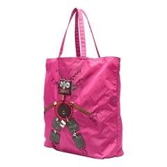 Prada Pink Robot Nylon Tote Bag