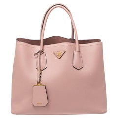 Prada Pink Saffiano Cuir Leather Medium Double Handle Tote